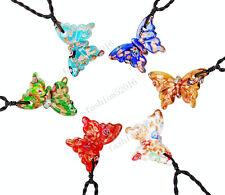 FREE Wholesale 12X Butterfly Lampwork Glass Pendants Weaving Cord Necklace