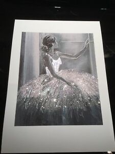 Real Glitter ballerina picture A4 print only NO FRAME glitter diamond Dust