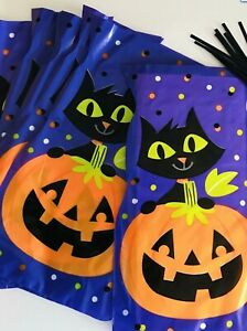 10 x HALLOWEEN Pumpkin and Cat CELLOPHANE Sweet Gift LOOT Bags TRICK OR TREAT