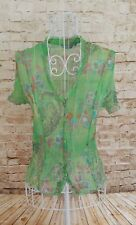 PER UNA Women's Green Floral Print Short Sleeve Chiffon Style Blouse Top Size 8