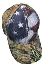 19d27d18a96f3 New Mossy Oak Camo USA Front Panel American Flag Baseball Cap Hat