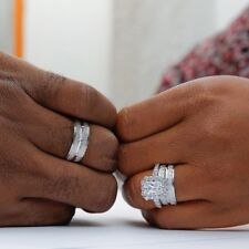 Trio Wedding Ring Set His Her Diamond Engagement Bridal 14K White Gold Over