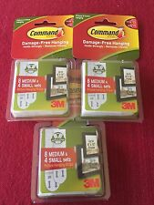 (LOT OF 3) 3M Command Picture Hanging 4 Sets Small Strips 8 Sets Medium Strips