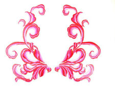"""Fuschia Red Embroidered Appliques Dance Costume Mirror Pairs Patch 11"""" Gb289X"""