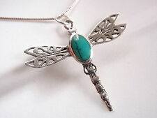 Turquoise Dragonfly Pendant 925 Sterling Silver Corona Sun Jewelry