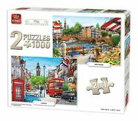1000 Piece Jigsaw 2:1 Set London Big Ben & Amsterdam City Puzzle Collection 5516
