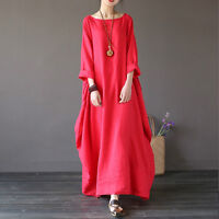 Plus SIZE Women's Lady BOHO Long Sleeve Loose Cotton Linen Summer Sundress Dress