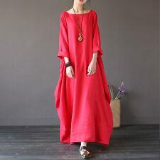 L-5XL Plus Size Ladies Loose Casual Long Maxi Dress Kaftan Long Shirts Dresses