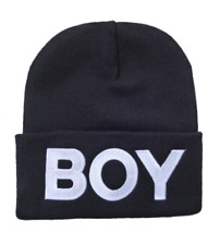 BOY LONDON FASHION BEANIE HAT (BLACK WITH WHITE LOGO)