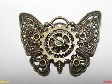 steampunk brooch badge pin bronze butterfly moth cogs gearwheel gothic jewellery