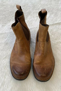 Mens Distressed Brown Chelsea Rockport Leather Pull On Boots Size US 9.5