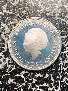 1982 Netherlands Antilles 50 Gulden  Lot#X441 Silver! High Grade! Beautiful!