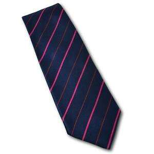 Richard James Savile Row Navy / Pink Stripe Satin Tie England 3 1/8""