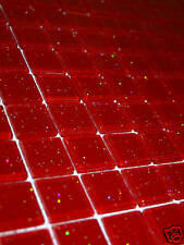 SAMPLE OF GLASS MOSAIC TILES GLITTER RED