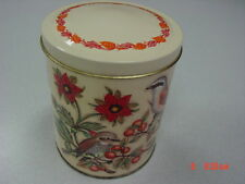 Vintage Tin Daher Birds Flowers Orange Red Berries Lidded Used