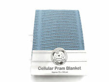 Cellular Cotton Pram Blanket 75 x 100 cm Color Blue