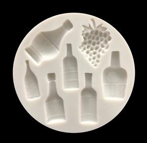 Weinflasche matt Fondant Resin Silikonform Fondant  Epoxidharz Seife Gießform