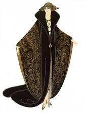 """ORIGINALE VINTAGE Erte Art Deco Print """"il mantello d'oro"""" Piastra di libro di moda"""