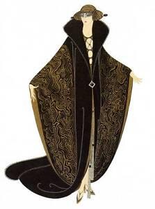 "Original Vintage Erte Art Deco Print ""The Golden Cloak"" Fashion Book Plate"