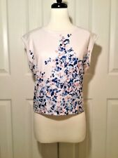 KIIND OF Women's White Blue Pink Floral Sleeveless Top NEW NWT Size Small