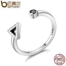 Bamoer Solid .925 Sterling Silver Open Ring With CZ Geometric Movement For Women