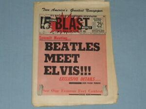 """1965  """"Beatles Meet Elvis"""" Teen Newspaper (National Blast Weekly) RARE!!"""