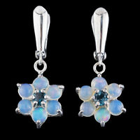 100% NATURAL LONDON BLUE TOPAZ & WELO BLUE OPAL RARE STERLING SILVER 925 EARRING