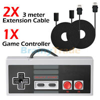 Game Controller & 2x 9.8ft Extension Cable for Nintendo NES Mini Classic Edition