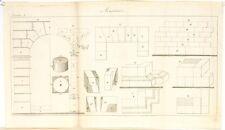 Stampa antica COSTRUZIONI MURATURA arcate Maconnerie Pl 8 1814 Old antique print