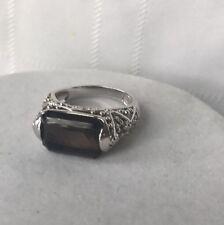 Lia Sophia Espresso Ring Smokey Topaz Emerald Cut Silver Tone Rare Size 8