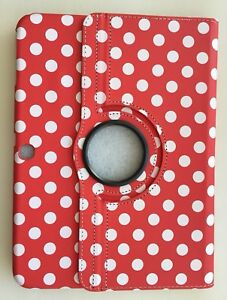 """360 Rotating Leather Cover Case Stand Samsung Galaxy Tab 3 10.1"""" Red & White dot"""