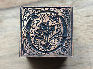 Antique Copper mounted on wood PRINTING BLOCK Ornate Storybook style letter - O