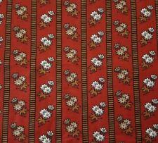 Civil War Floral Stripe BTY Baum Textiles Reproduction Ivory Brown Dark Red