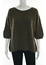 NWT NORMAN AMBROSE Mocha Cashmere 1/2 Sleeve Cable Knit Pullover Sweater Sz 4X