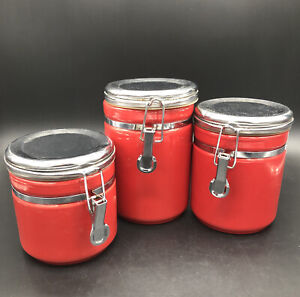 "4"",5""& 6"" canister & latch seal Home Collection Anchor Hocking Co. Red"