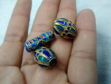 Pretty 3 vintage enamel silver beads for jewelry making