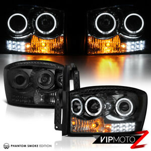 2006 Dodge Ram 1500 3500 Angel Eye DRL LED [SMOKE] Headlights Headlamps Assembly