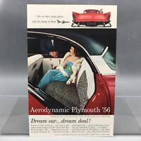Vintage Magazine Ad Print Design Advertising Plymouth Automobiles 1956