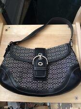 Coach Soho Signature Jacquard Flap  Purse Handbag Shoulder Bag F10926 Black/Grey