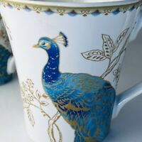 Pair of Peacock Garden Coffee Tea Mugs Cups 222 Fifth White Porcelain Gold Trim