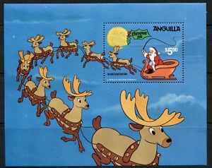 Disney Night Before Christmas souvenir sheet 1981 Anguilla #462 Santa Reindeer