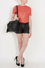 €616  Diane Von Furstenberg  Naples Leather Shorts Size US 6 UK 10 S Small