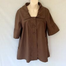 AS NEW CUE DESIGNER LINEN COTTON BLEND BLAZER JACKET TOP CHOCOLATE BROWN s 6 / 8