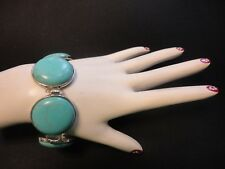 Turquoise Fashion Hand Made Jewelry BRACELET Silver Plated Clasp -50.0 gr. #2056