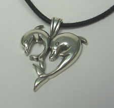 Heart Dolphins Pendant Necklace .925 Sterling Silver USA Made Valentine's Day