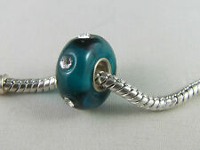 SINGLE SILVER CORE TEAL MURANO BEADS WITH R'STONES EURO STYLE BRACELETS (RB 015)