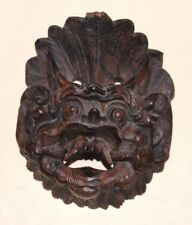 CARVED WOODEN ASIAN MASK - Horned Demon in Fine Detail