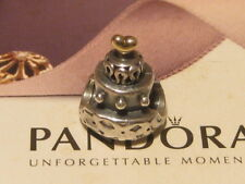 AUTHENTIC PANDORA SILVER & 14ct GOLD WEDDING CAKE CHARM - 790347