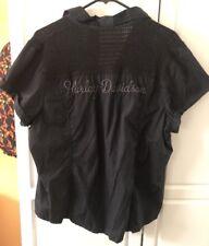 HARLEY DAVIDSON WOMENS 2XL BLACK EMBROIDERED DRESS SHIRT W/BLING-LQQK~NWOT