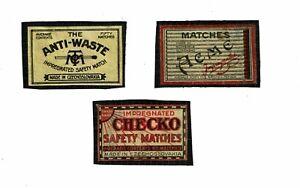 3 Old Czechoslovakia/Bohemia c1930s matchbox labels Anti Waste, Checko etc.
